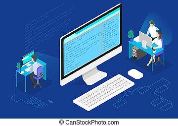 web, lavorativo, concept., programmatore, o, sviluppatore