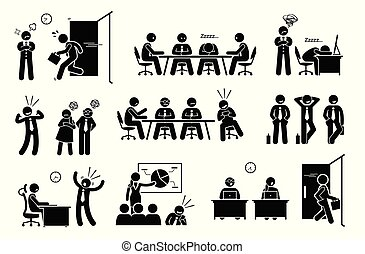 Vector artwork depicts young generation worker late to work, sleeping during meeting, boastful, irresponsible, leaving early, and feeling entitled.