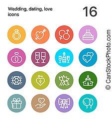 web, liebe, bunte, heiligenbilder, beweglich, 1, wedding, design, datieren, satz