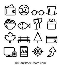 web, lijn, pictogram, set, website, navigatie, plat, ontwerp, pictogram, verzameling, -, online winkel, park, heer