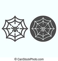 Web line and solid icon. Scary net grid with spider in center. Halloween vector design concept, outline style pictogram on white background, use for web and app. Eps 10.