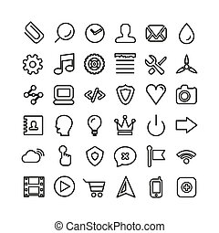 Web line icon set. Thin icons isolated on white