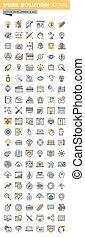 web, linea, disegno, magro, icone