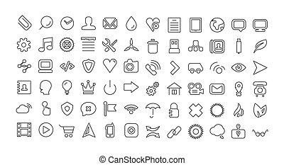 web, linea, icona, set., universale, magro, icone