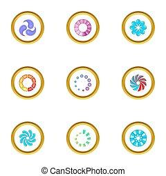 Web loading icons set, cartoon style