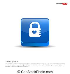 Web Lock Icon - 3d Blue Button