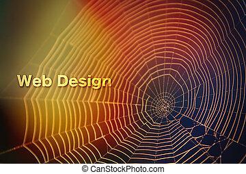 web, luce colorita, ragno, struttura, sfocato, disegno, fondo