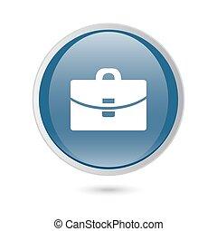 web, lucido, blu, icon., valigia, -, vettore