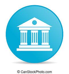 web, lucido, blu, museo, icona, cerchio