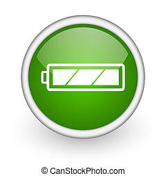 web, lucido, fondo, icona, batteria, cerchio, verde bianco