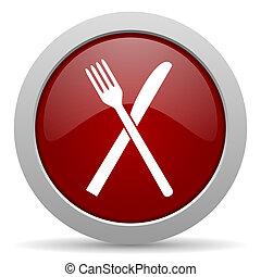 web, lucido, icona, rosso, ristorante
