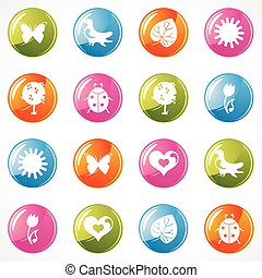 web, lucido, icone