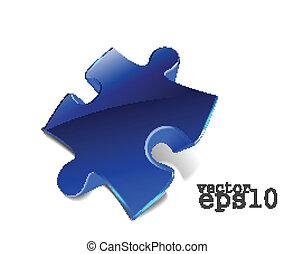 web, lucido, puzzle, icona, 3d