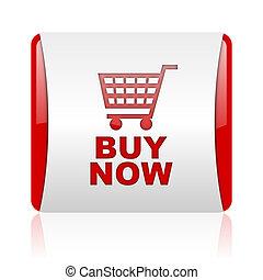 web, lucido, quadrato, icona, comprare, rosso, ora, bianco