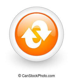 web, lucido, sfondo arancia, rotazione, icona, bianco