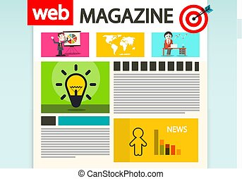 Web Magazine Cover. Vector Internet Design.