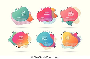 Web mail, Accounting report and Web lectures icons. Laptop sign. Vector