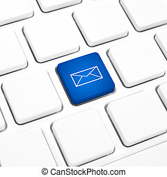 Web Mail business concept blue button or key on white keyboard