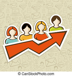 Web marketing campaign success concept - People profile...