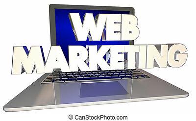 Web Marketing Computer Laptop 3d Illustration