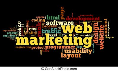 Web marketing concept in word cloud on black background