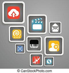 Web media icons in square blocks
