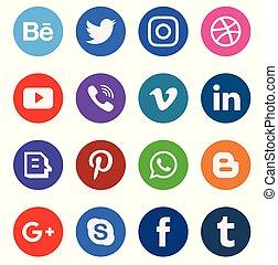 web, media, verzameling, pictogram
