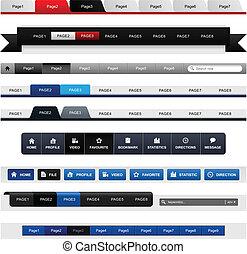 web, menu, disegno, navigazione, testata