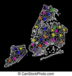 Web Mesh Map of New York City with Colorful Light Spots