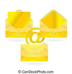 web message symbol gold color set