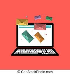web messaging through computer image vector illustration...