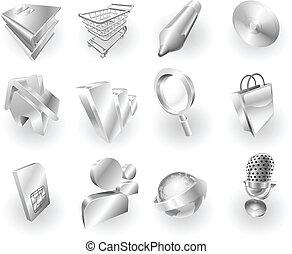 web, metaal, set, pictogram, toepassing, metalen