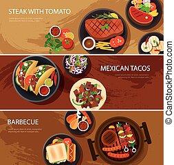 web, mexicaanse , spandoek, voedingsmiddelen, straat, tacos, barbecue, biefstuk