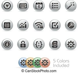 Web & Mobile Icons 4 - Metal Round