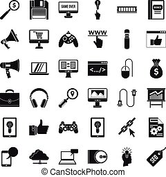 Web mobile icons set, simple style