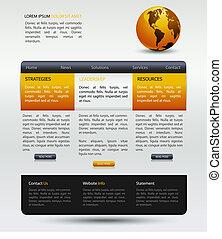 web, moderne, ontwerp, mal