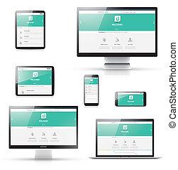 web, moderno, disegno, appartamento, sensibile