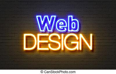 web, muur, buitenreclame, achtergrond., ontwerp, baksteen