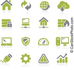 web, natura, icons., ontwikkelaar