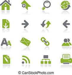 web, natura, navigatie, /, iconen