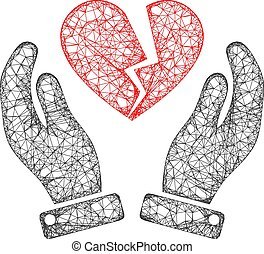 Web Net Broken Heart Care Hands Vector Icon