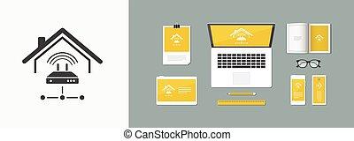 web, netwerk, -, vector, router, wi-fi, pictogram