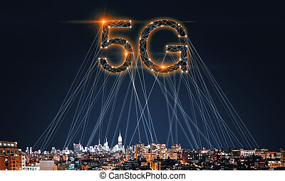 Web network backdrop - Creative 5G internet on night city...