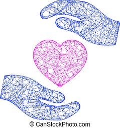 Web Network Favourite Heart Care Hands Vector Icon