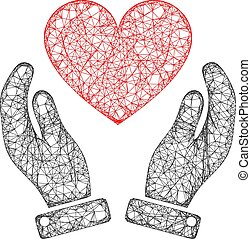 Web Network Love Heart Care Hands Vector Icon