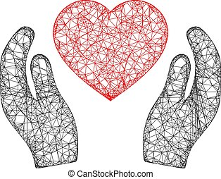 Web Network Romantic Heart Care Hands Vector Icon