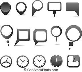 web, nubi, icone, astratto, collezione, discorso