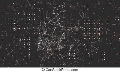 Web of connections and dots forming square against red ...