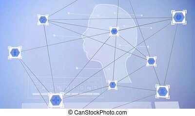 Web of connections icons against human head model - ...