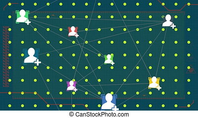 Web of connections icons against multiple dots on a green ...